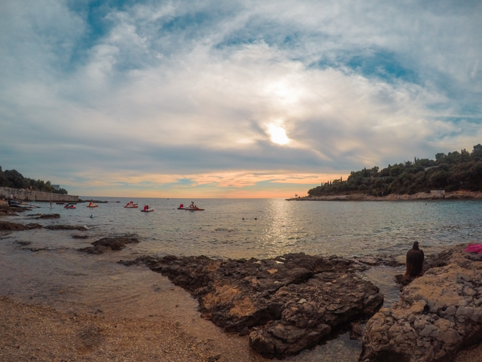 Sunset view from one of the beaches in Pula, Croatia