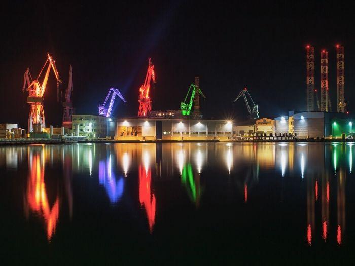 The Shipyard in Pula lights up at night, Croatia