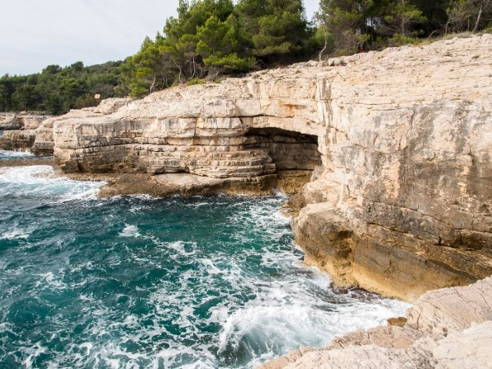 The rocky coast of Pula, Croatia