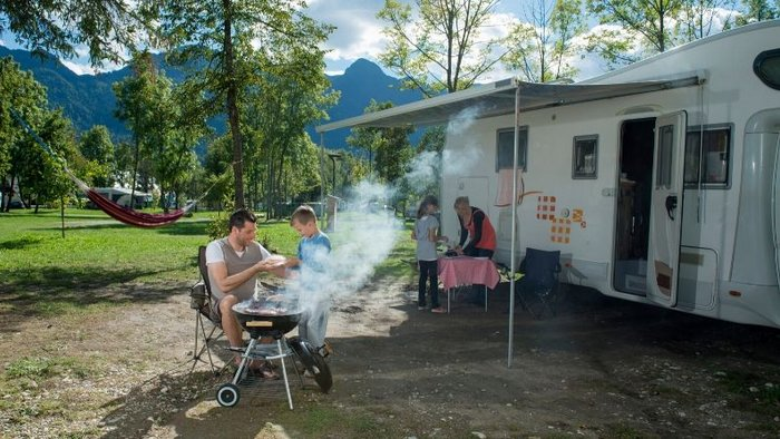 Outdoor camping cooking set up - Van Life Europe