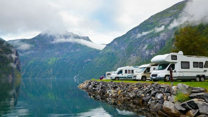 Scenic camping spot in Geirangerfjord, Norway - Traveling Europe by Campervan