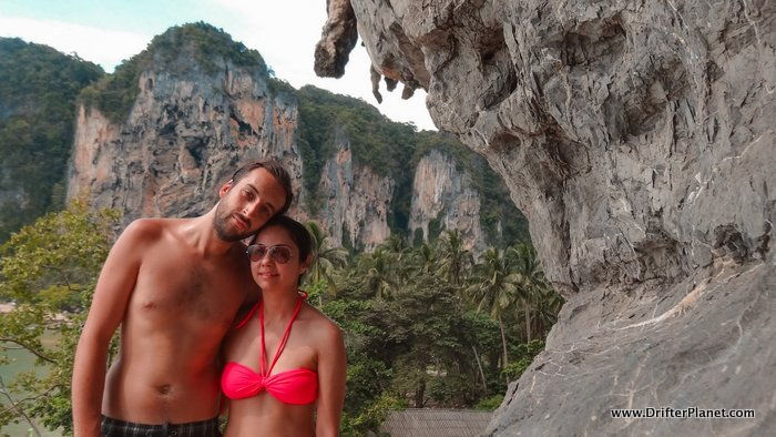 Us on top of a cliff in Ton Sai, Railay, Thailand