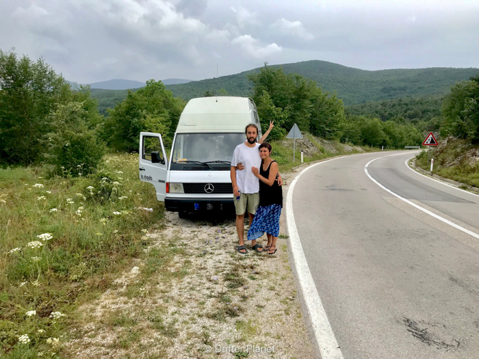 Us with our van in Bosnia and Herzegovina