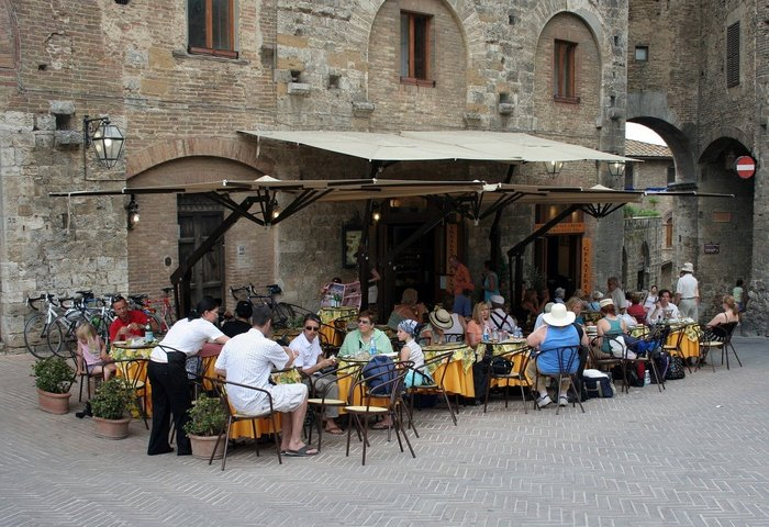 An outdoor restaurant in Tuscany, Italy