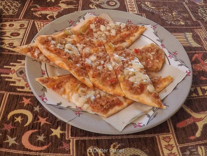 Eating Pide -Turkish Food -