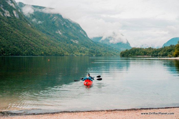 Kayaking on Lake Bohinj, Slovenia