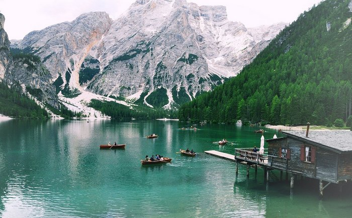 Lago di Braies or The Pragser Wildsee, or Lake Prags, Lake Braies in north Italy