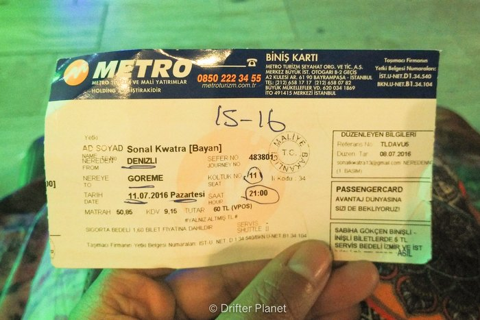 Metro Turizm bus ticket - Turkey travel tips