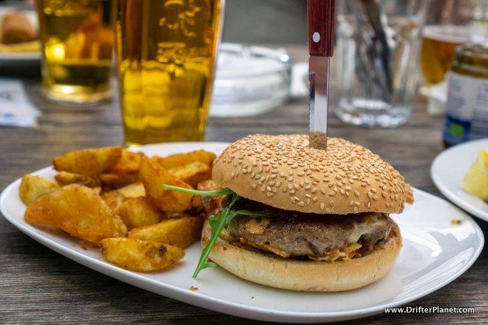 Our burger in Camp Zlatorog Bohinj, Slovenia