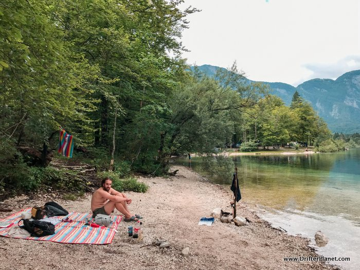 Picnic next to Lake Bohinj in Triglav National Park, Slovenia