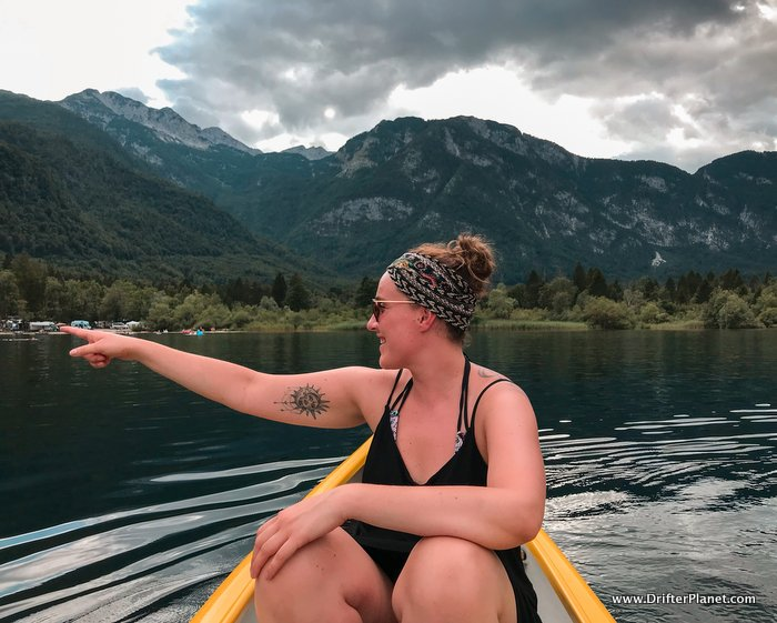 Relaxing on our rented kayak on Lake Bohinj, Slovenia