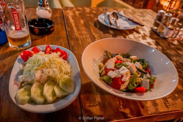 Salad in Anika restaurant, Visegrad, Bosnia-Herzegovina