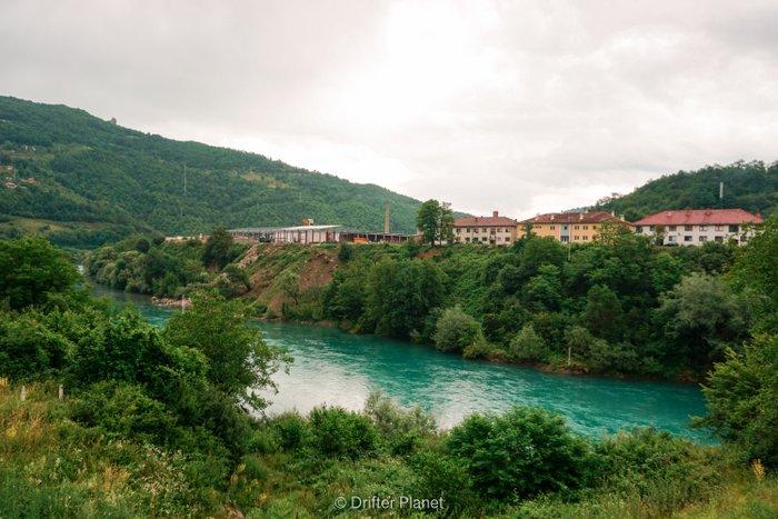 The lovely Drina river, near Visegrad, Bosnia & Herzegovina