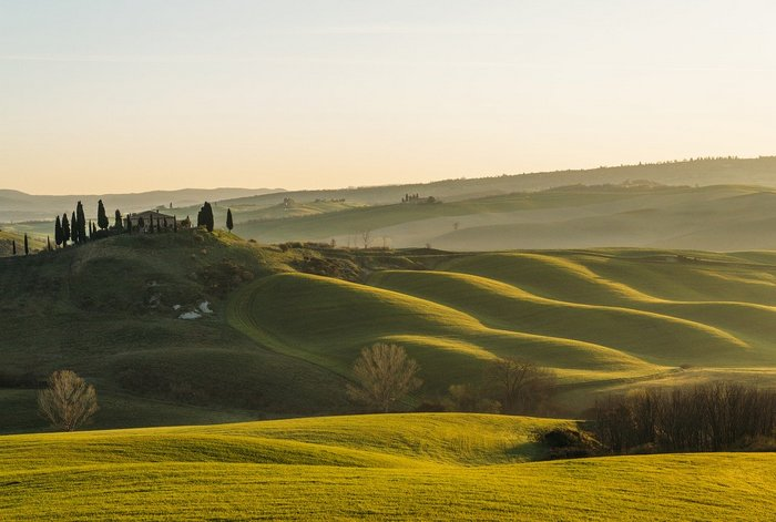 Tuscany's famous rolling hills - Italy by train