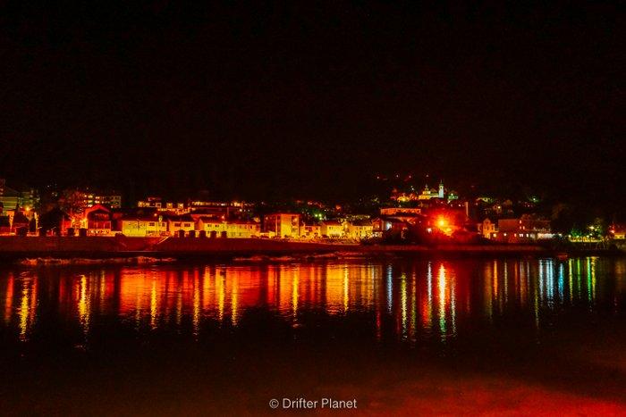 Visegrad at night with the bridge over the Drina river, Bosnia & Herzegovina