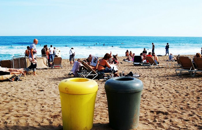 Barcelona's popular Barceloneta beach that gets busy during summer