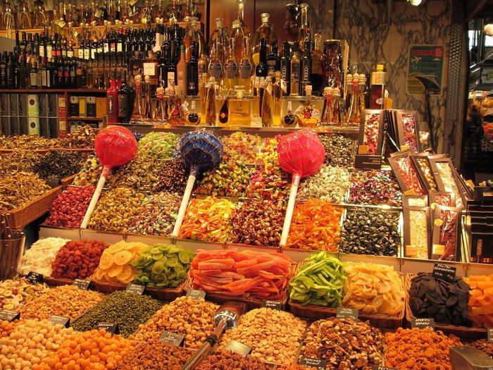 La Boqueria food market in Barcelona's La Rambla