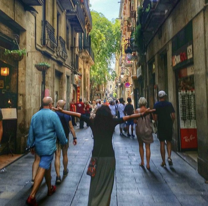Sonal in Barcelona's crowded centre