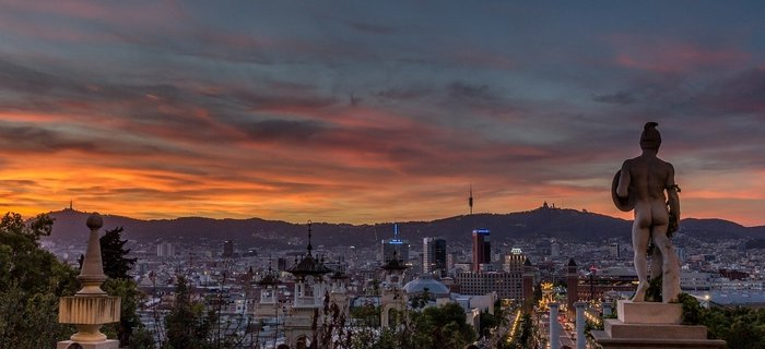 Sunset view of Barcelona from Montjuic