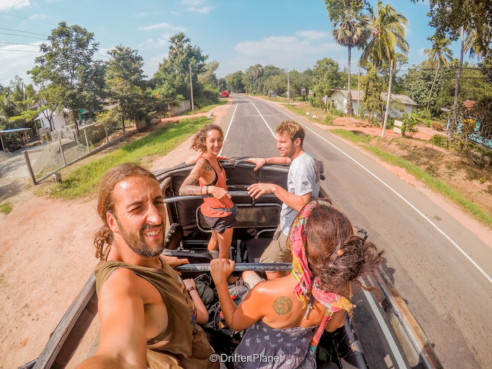 Super excited for our jeep safari at Kaudulla National Park in Sri Lanka