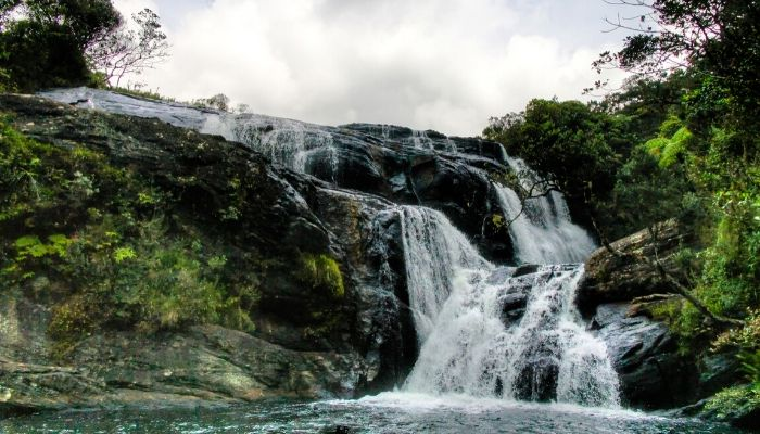 Baker Falls in Hotron Plains National Park, Nuwara Eliya