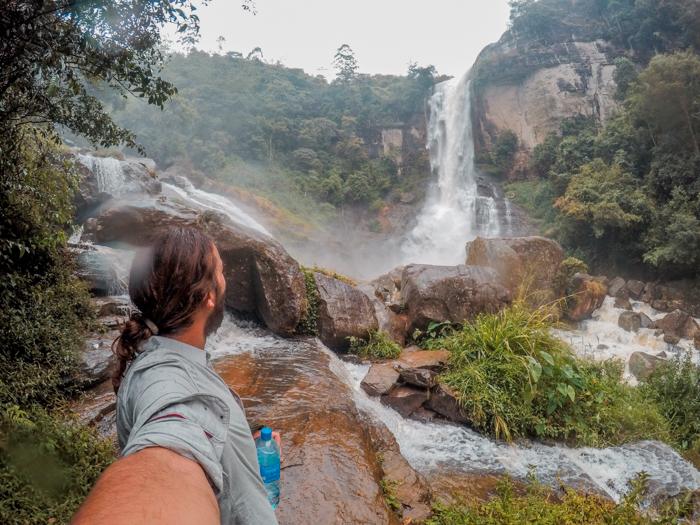 Ramboda Falls in Nuwara Eliya, Sri Lanka
