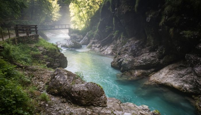 Tolmin Gorges Hiking trail, Triglav National Park, Slovenia