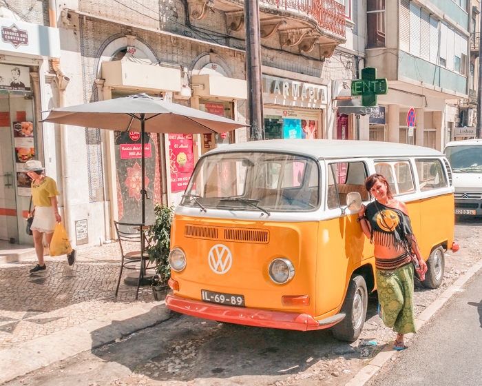 A Shiny Yellow VW Camper Van in Lisbon