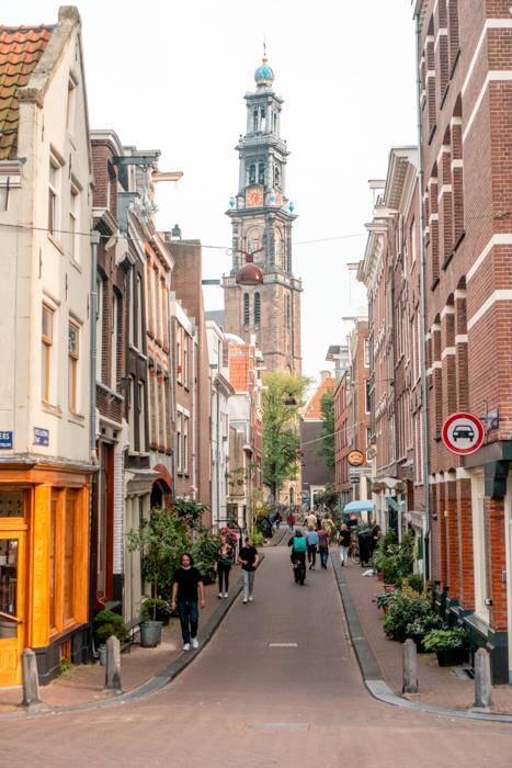 Bloemstraat with Westerkerk in the background - Jordaan - Amsterdam IG spots